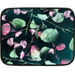 Modern Green And Pink Leaves Fleece Blanket (Mini)