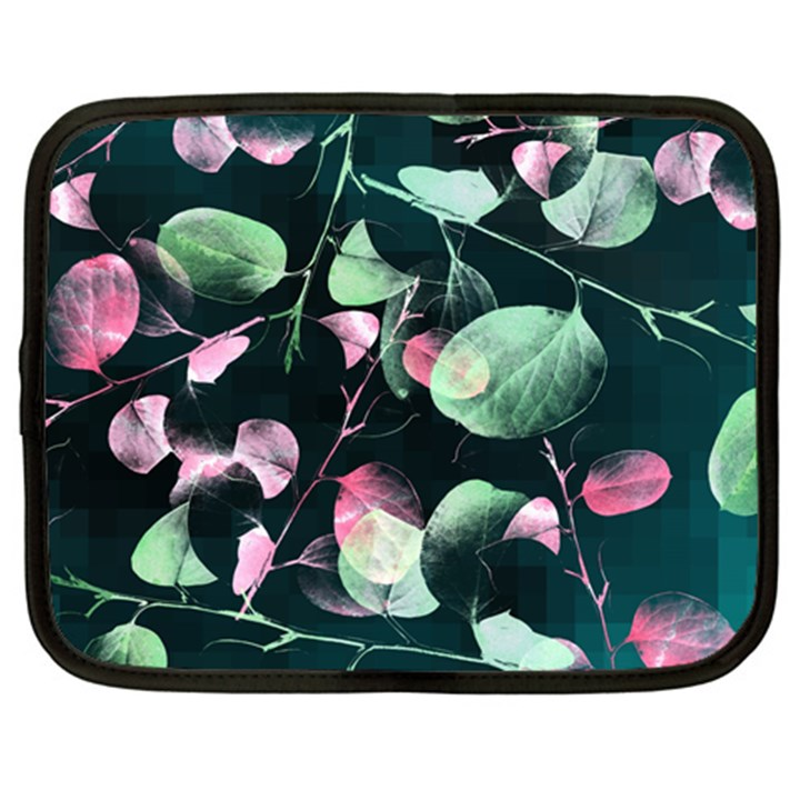 Modern Green And Pink Leaves Netbook Case (XL)