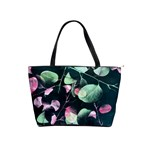Modern Green And Pink Leaves Shoulder Handbags