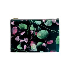Modern Green And Pink Leaves Cosmetic Bag (medium)  by DanaeStudio