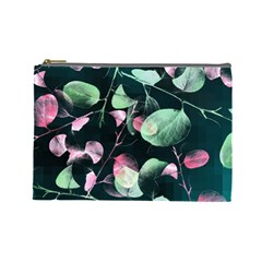 Modern Green And Pink Leaves Cosmetic Bag (large)  by DanaeStudio