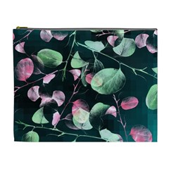 Modern Green And Pink Leaves Cosmetic Bag (xl) by DanaeStudio