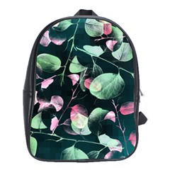 Modern Green And Pink Leaves School Bags(large)  by DanaeStudio