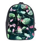 Modern Green And Pink Leaves School Bags(Large)
