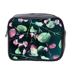 Modern Green And Pink Leaves Mini Toiletries Bag 2 Side