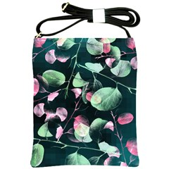 Modern Green And Pink Leaves Shoulder Sling Bags by DanaeStudio
