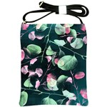 Modern Green And Pink Leaves Shoulder Sling Bags
