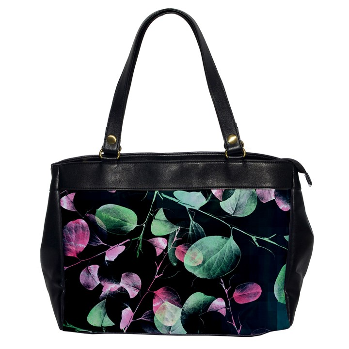 Modern Green And Pink Leaves Office Handbags