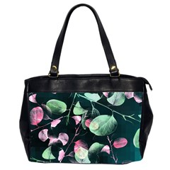 Modern Green And Pink Leaves Office Handbags (2 Sides)  by DanaeStudio