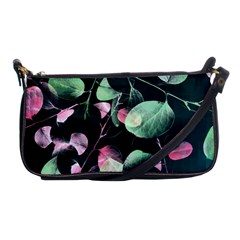 Modern Green And Pink Leaves Shoulder Clutch Bags by DanaeStudio