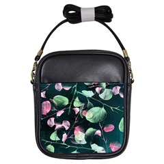 Modern Green And Pink Leaves Girls Sling Bags by DanaeStudio