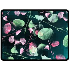 Modern Green And Pink Leaves Fleece Blanket (large)  by DanaeStudio