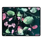 Modern Green And Pink Leaves Fleece Blanket (Small)