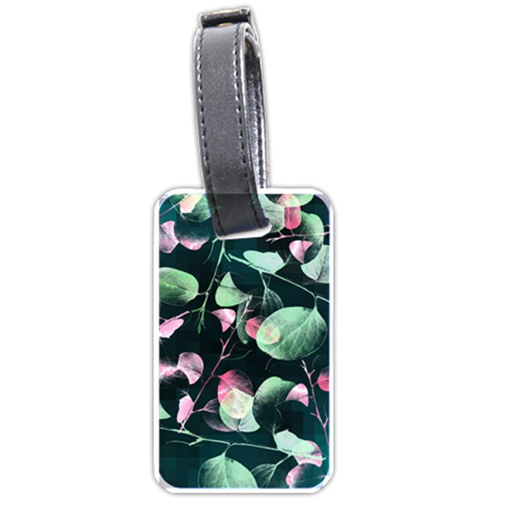 Modern Green And Pink Leaves Luggage Tags (One Side)
