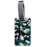 Modern Green And Pink Leaves Luggage Tags (Two Sides) Back