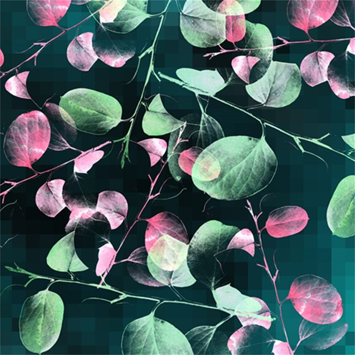 Modern Green And Pink Leaves Magic Photo Cubes