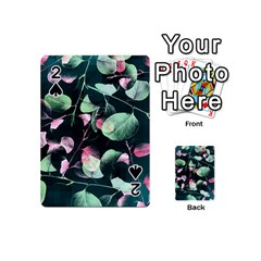 Modern Green And Pink Leaves Playing Cards 54 (mini)  by DanaeStudio