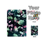 Modern Green And Pink Leaves Playing Cards 54 (Mini)