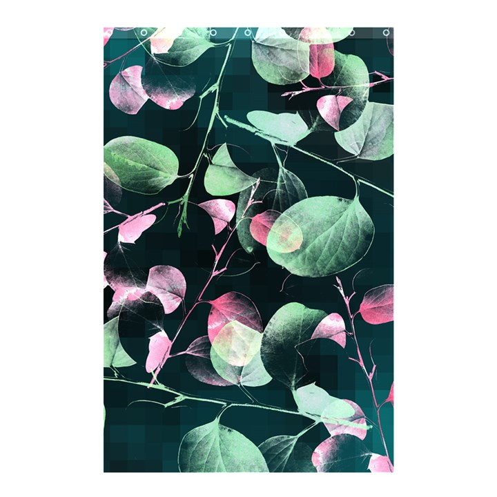 Modern Green And Pink Leaves Shower Curtain 48  x 72  (Small)