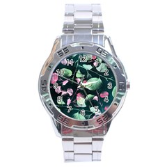 Modern Green And Pink Leaves Stainless Steel Analogue Watch by DanaeStudio