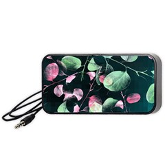 Modern Green And Pink Leaves Portable Speaker (black)