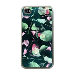 Modern Green And Pink Leaves Apple Iphone 4 Case (clear)