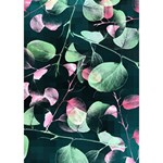 Modern Green And Pink Leaves Heart Bottom 3D Greeting Card (7x5) Inside
