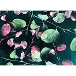 Modern Green And Pink Leaves Ribbon 3D Greeting Card (7x5) Back
