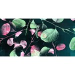 Modern Green And Pink Leaves HUGS 3D Greeting Card (8x4) Front