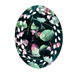 Modern Green And Pink Leaves Oval Filigree Ornament (2-Side)