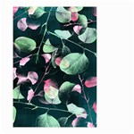 Modern Green And Pink Leaves Small Garden Flag (Two Sides)