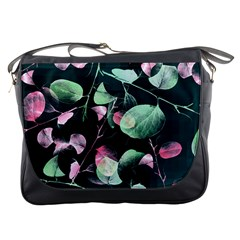 Modern Green And Pink Leaves Messenger Bags by DanaeStudio