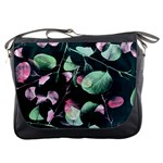 Modern Green And Pink Leaves Messenger Bags