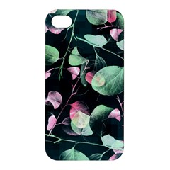 Modern Green And Pink Leaves Apple Iphone 4/4s Premium Hardshell Case by DanaeStudio