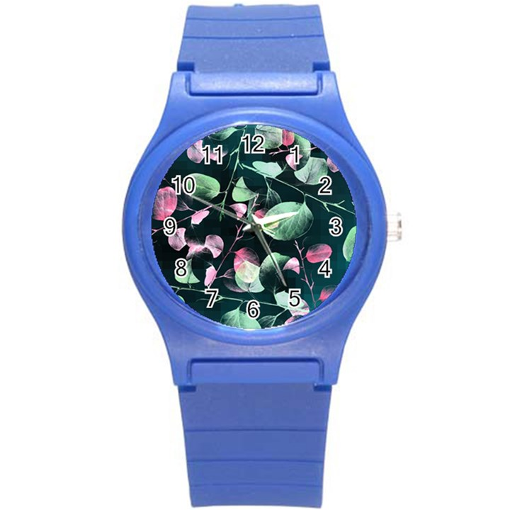 Modern Green And Pink Leaves Round Plastic Sport Watch (S)