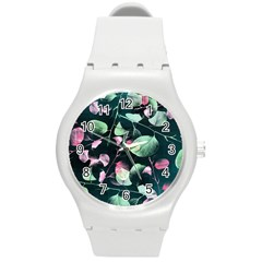 Modern Green And Pink Leaves Round Plastic Sport Watch (m)