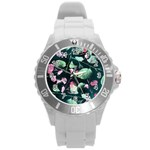 Modern Green And Pink Leaves Round Plastic Sport Watch (L)