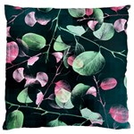 Modern Green And Pink Leaves Large Cushion Case (One Side)