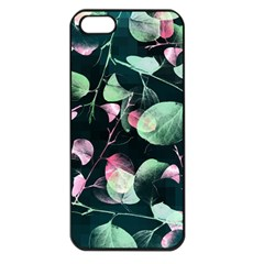 Modern Green And Pink Leaves Apple Iphone 5 Seamless Case (black) by DanaeStudio
