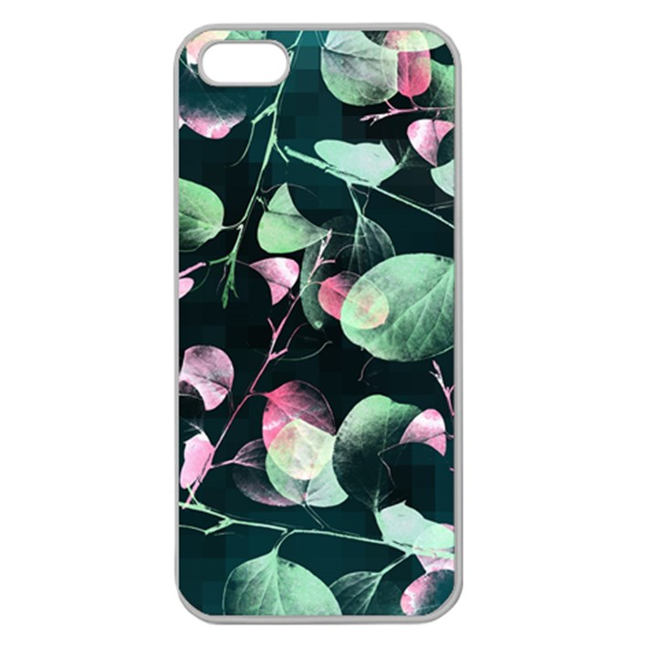 Modern Green And Pink Leaves Apple Seamless iPhone 5 Case (Clear)