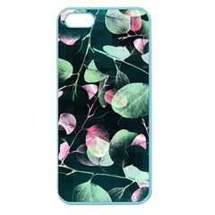 Modern Green And Pink Leaves Apple Seamless Iphone 5 Case (color) by DanaeStudio