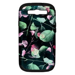 Modern Green And Pink Leaves Samsung Galaxy S Iii Hardshell Case (pc+silicone) by DanaeStudio