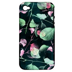 Modern Green And Pink Leaves Apple Iphone 4/4s Hardshell Case (pc+silicone) by DanaeStudio