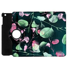 Modern Green And Pink Leaves Apple Ipad Mini Flip 360 Case