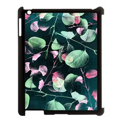 Modern Green And Pink Leaves Apple Ipad 3/4 Case (black) by DanaeStudio