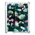 Modern Green And Pink Leaves Apple iPad 3/4 Case (White) Front