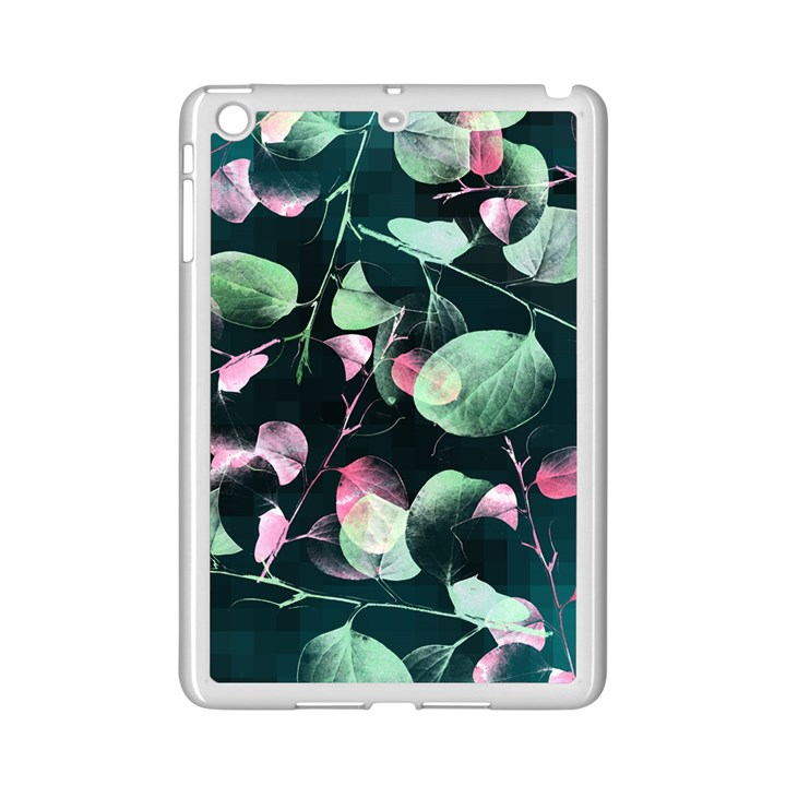 Modern Green And Pink Leaves iPad Mini 2 Enamel Coated Cases