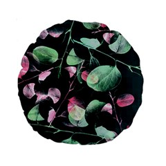 Modern Green And Pink Leaves Standard 15  Premium Round Cushions