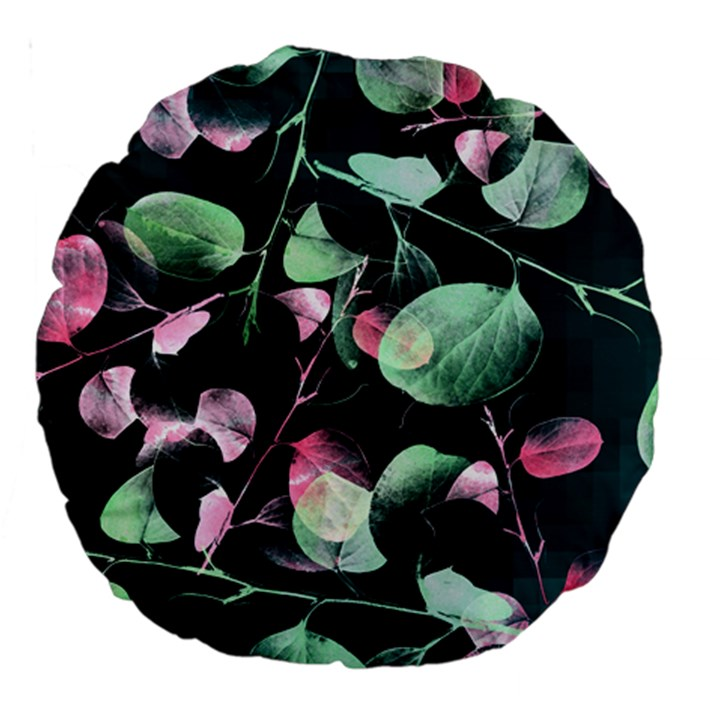 Modern Green And Pink Leaves Large 18  Premium Round Cushions