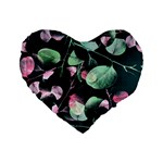 Modern Green And Pink Leaves Standard 16  Premium Heart Shape Cushions